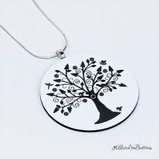 tree of life pendant black white laser etched on silver plated chain addicted to ons madeit com au