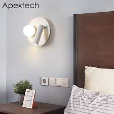 Led Reading Lights Over Bed Us 39 65 39 Off Apextech Led Wall Lamp Bedroom Night Light Wall Mounted Bedside Reading Lights Angle Rotatable With Double Switch In Led Indoor Wall