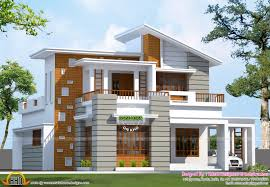 slanting roof mix house 1600 sq ft kerala home design