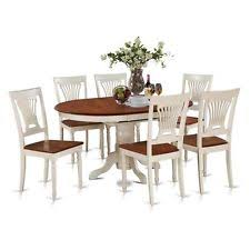 east west furniture 7 piece dining set oval table with leaf and 6 dining chairs