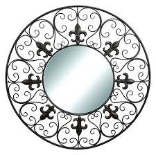 fleur de lis mirror wall hanging round wall mirror metal black cor fleur de lis wall