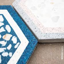 Design Your Own Mosaic Pattern White Blue And Pastel Pink Patterned Hexagon Terrazzo Tiles