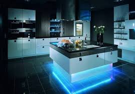 COntemporary Kitchen Cabinets In Black And White With Wood Elements, Kitchen  Island Design With LED Lights ...