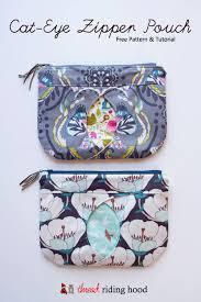 cat eye zippered pouch free pattern