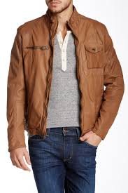 image of cole haan washed genuine leather moto jacket