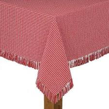 homespun fringed 70 in round red 100 cotton tablecloth