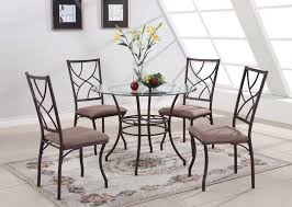 40 inch round glass dining table set with metal leg