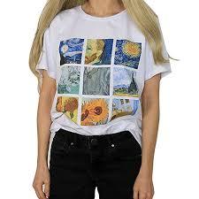 Yiitay Women <b>Van Gogh Printing</b> T Shirts Casual Round Neck Tunic ...