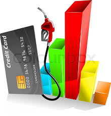 Credit Card With Gas Pump Nozzle Near Stock Vector