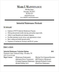 Industrial Maintenance Mechanic Sample Resume