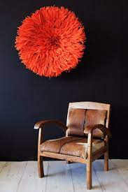juju hat feather wall hanging orange