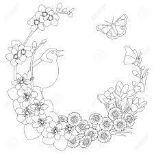 Spring Floral Outline Elegant Round Outline Wreath Coloring Page