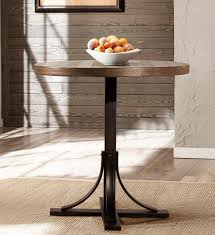 hilale jennings round counter height dining table walnut wood brown metal