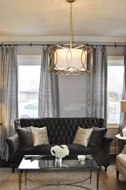 Mirrored Living Room Furniture Glam Living Room By Jws Interiors Charcoal Gray Velvet Tufted Sofa