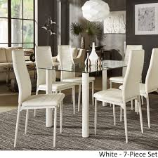 Milo Contemporary Metal and Glass Dining Set - Faux leather Chairs by  iNSPIRE Q Bold - Free Shipping Today - Overstock.com - 24628878