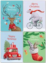 Retro Holidays Christmas Cards Set 24 Holiday Cards With Red Envelopes 4 Funny Vintage Designs Featuring Retro Winter Xmas Animals Bulk Blank Greeting And New