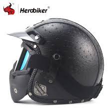 new retro vintage motorcycle helmet synthetic leather moto helmet cruiser touring chopper 3 4 open face helmet dot glasses mask