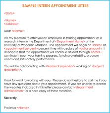Unpaid Internship Offer Letter Sample Internship Offer Appointment Letters 7 Templates Formats