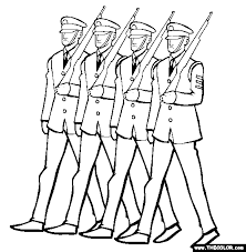 Soldiers Marching Veterans Day Coloring Page