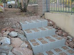 concrete block steps DIY. better than climbing the slippery rocks up from  the beach.