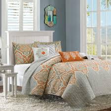 beautiful shades of grey bedding sets lostcoastshuttle set gray and orange striped image fl comforter chevron