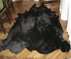 black cowhide leather rug