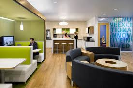 decorating small business. Small Business Office Design With Green Color Schemes And Using Curved Black Sofa Decorating