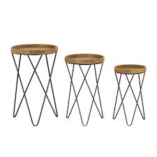 free nordic wood round table set of set side tables scandi nest of