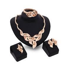 dubai 18k gold pendant calla lily necklace sets fashion african diamond wedding bridal jewelry sets necklace bracelet earrings ring