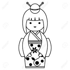 かわいい小さな日本の人形のベクトル イラスト デザイン