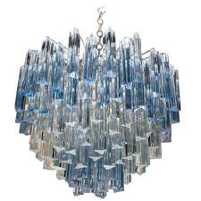 rare murano chandelier with clear and grant blue crystal prisms by venini for camer for