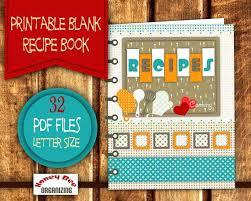Recipe Binder Templates Printable Cookbook Template Recipe Book Binder Set Blank