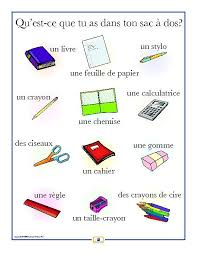 French School Supplies Poster | Worksheets, French school and School
