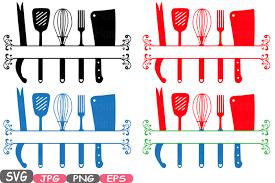 kitchen utensils split silhouette. Plain Split Split Kitchen SVG File Cutting Files Cricut U0026 Cameo Utensils  Silhouette Cooking Food Stickers Clipart Tools Clip Art 571S By HamHamArt  With F