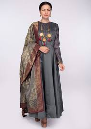 Frock Suit Neck Design Graphite Grey High Neck Anarkali Dress With A Grey Brocade