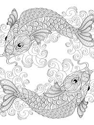 Yin And Yang Pieces Symbol Fish Coloring Page For Adults Coloring