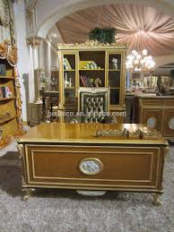 Luxury French Baroque Style Home Office Furniture/Palace Style Study Room  Porcelain Decorative Executive Desk