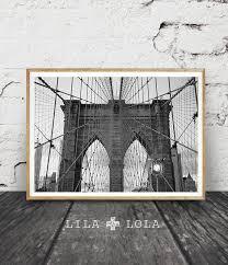 brooklyn bridge print new york city nyc black and white photography wall art decor printable travel photo large poster
