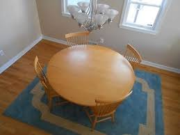large solid wood custom 65 round dining table 4 matching chairs local pick up