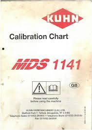 Kuhn Fertiliser Spreader Mds1141 Calibration Charts Manual Mds 1141