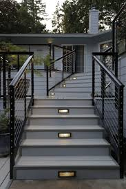 metal handrails for deck stairs. karen and mike also chose a stainless steel cable railing system nexan\u0027s\u2026 metal handrails for deck stairs v