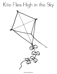Small Picture Kite Flies High in the Sky Coloring Page Twisty Noodle