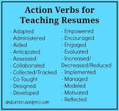 Resume Verbs For Teachers