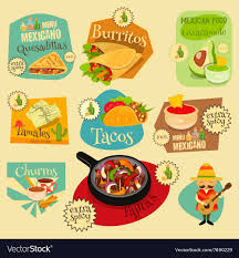 mexican food menu. Modren Food Mexican Food Menu Mini Labels Vector Image On I