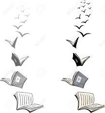 two flocks of flying books stock vector 16219214