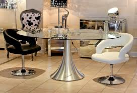 mind blowing furniture for dining room decoration using modern pedestal oval glass top tables including round hourglass silver steel table base and black