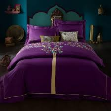 cotton embroidered king queen size bedding sets of bed in a bag purple elegant duvet cover set pillow case bed sheet pillow sham ladybug bedding grey and