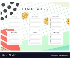 Graphic Design Timetable Planner Calendar Schedule The Week Abstract Design