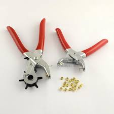 6 sized heavy duty leather hole punch pliers metal hand tool 2pcs set 1pc punch plier 1pc eyelet pliers 20pcs iron findings