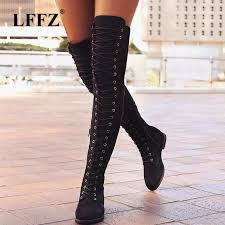 women thigh high boots shoes women winter snow boots leather over the knee high flat long winter boot plus size st321 cowgirl boots wide calf boots from